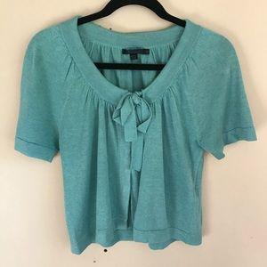 Boden Tiffany Blue Linen & Silk Blend S/S Cardigan